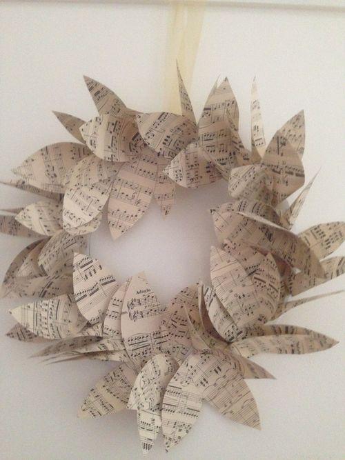 Xmas market - vintage music paper wreath