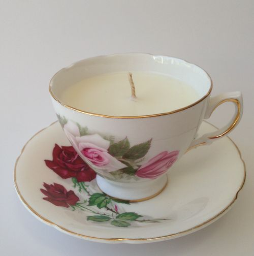 Vintage tea cup candle - ROSE