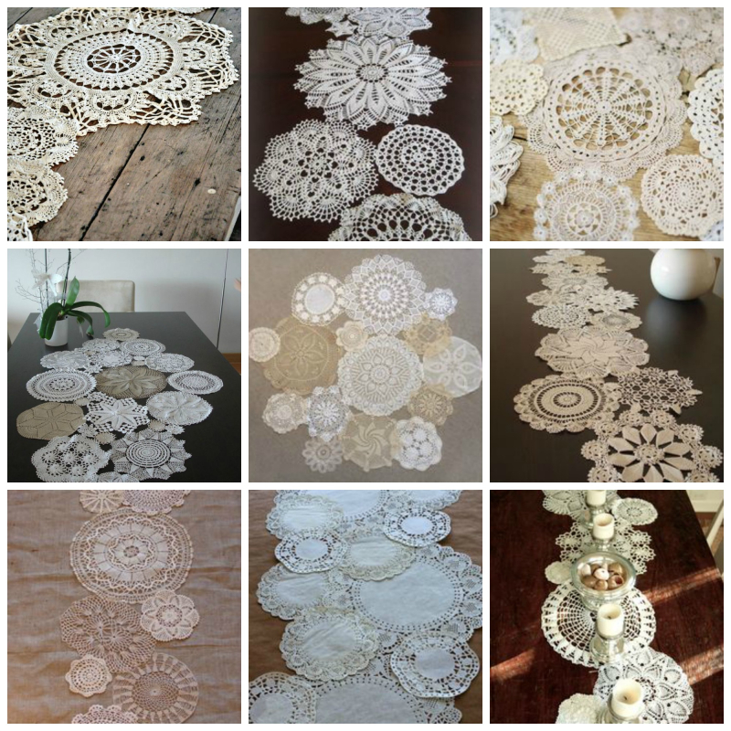 Doily table runner love